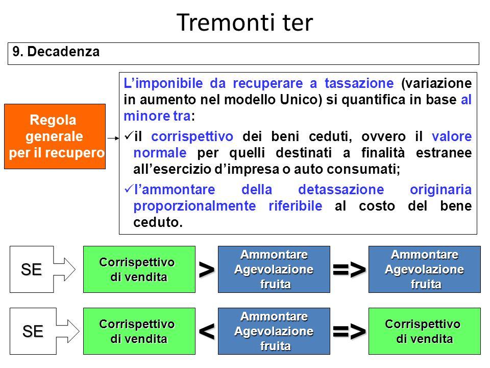 > => < => Tremonti ter SE SE 9. Decadenza