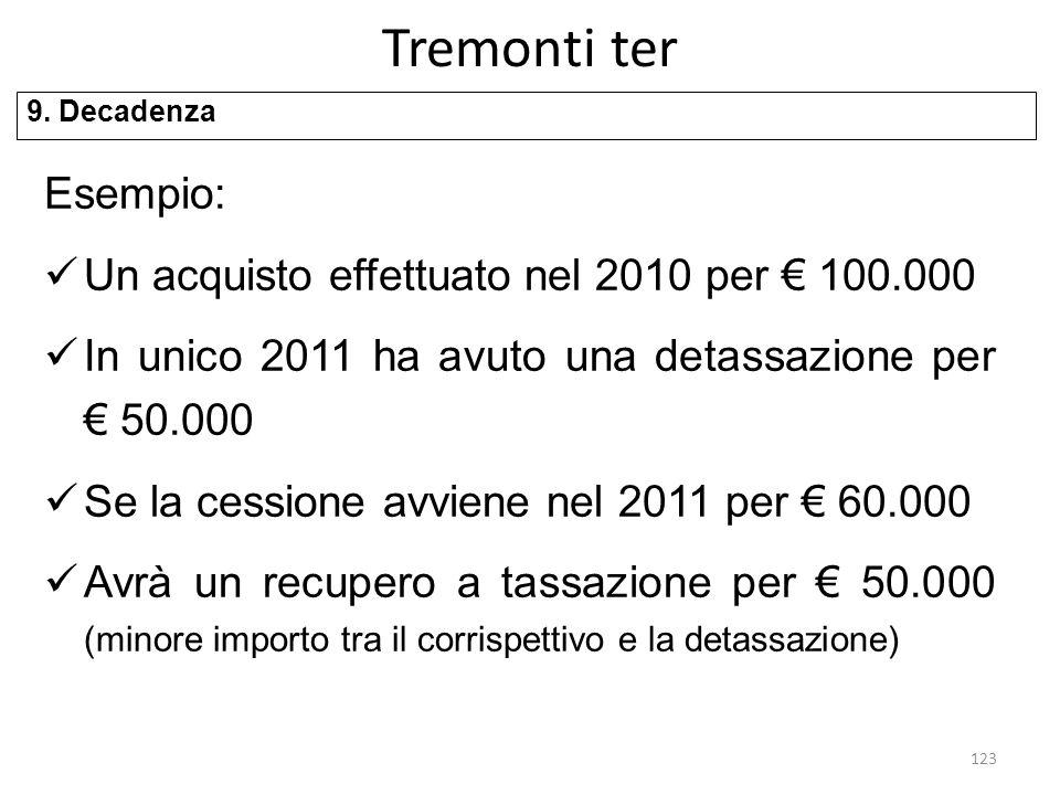 Tremonti ter Esempio: Un acquisto effettuato nel 2010 per € 100.000