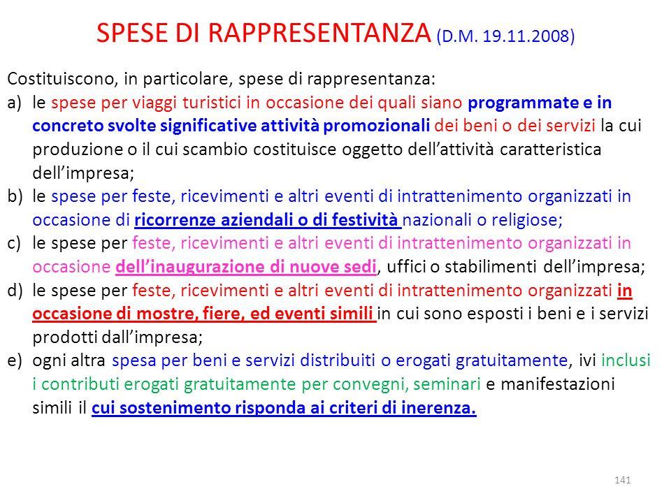 SPESE DI RAPPRESENTANZA (D.M. 19.11.2008)