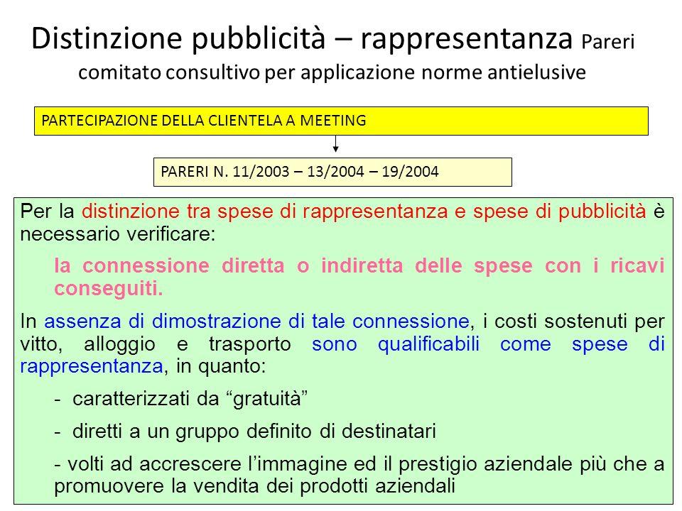 Distinzione pubblicità – rappresentanza Pareri comitato consultivo per applicazione norme antielusive