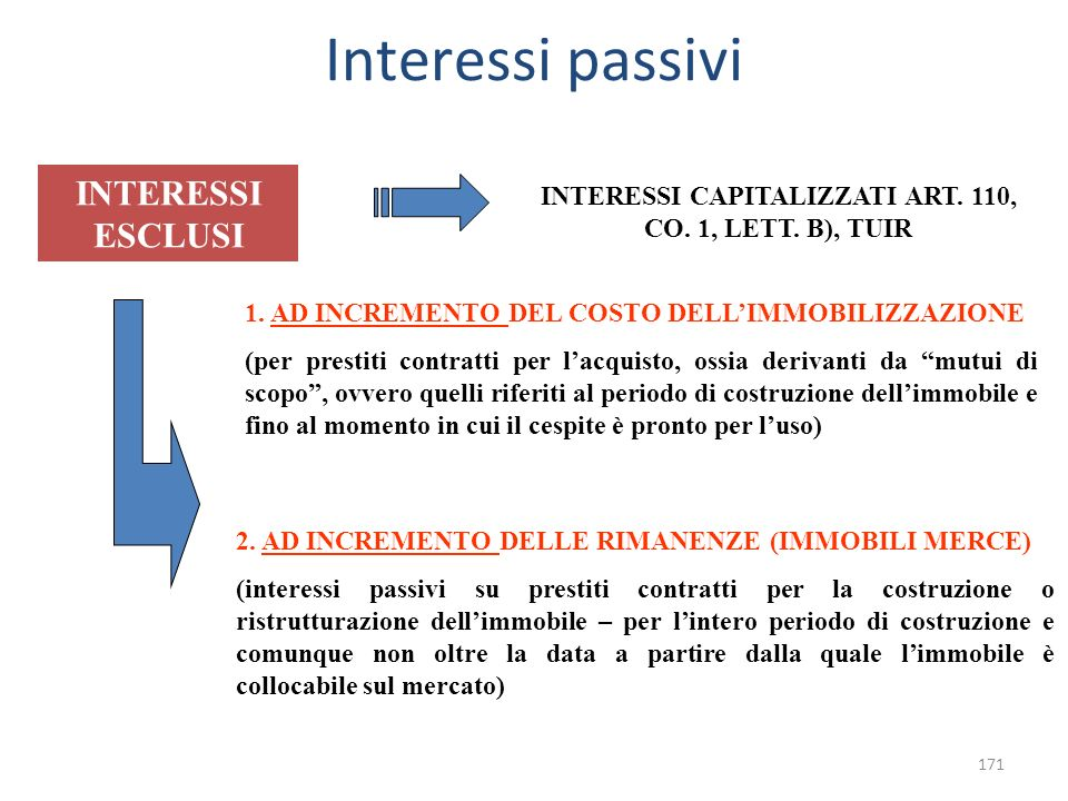 INTERESSI CAPITALIZZATI ART. 110, CO. 1, LETT. B), TUIR