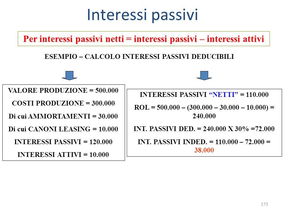 Interessi passivi Per interessi passivi netti = interessi passivi – interessi attivi. ESEMPIO – CALCOLO INTERESSI PASSIVI DEDUCIBILI.