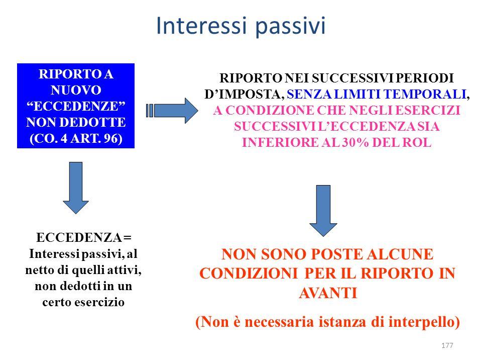 Interessi passivi RIPORTO A NUOVO ECCEDENZE NON DEDOTTE (CO. 4 ART. 96)