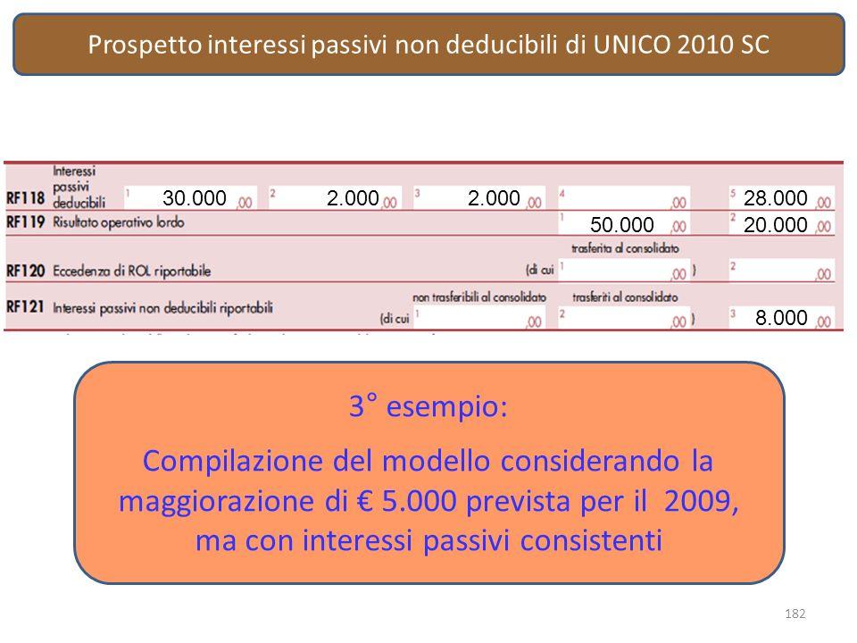 Prospetto interessi passivi non deducibili di UNICO 2010 SC