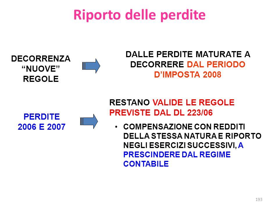 Riporto delle perdite DALLE PERDITE MATURATE A DECORRERE DAL PERIODO D'IMPOSTA 2008. DECORRENZA NUOVE REGOLE.
