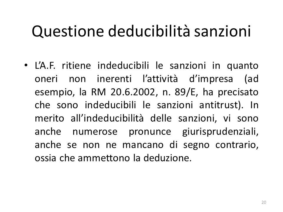 Questione deducibilità sanzioni