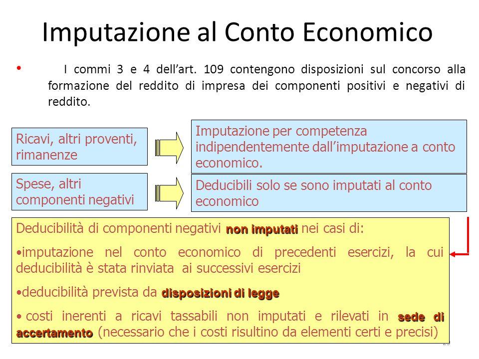 Imputazione al Conto Economico