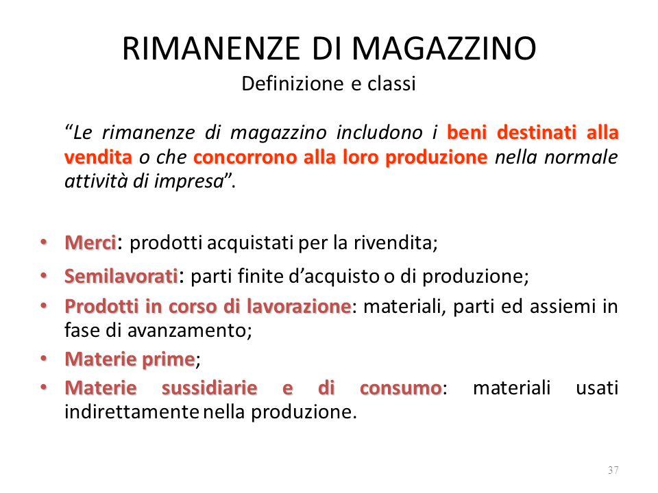 RIMANENZE DI MAGAZZINO Definizione e classi