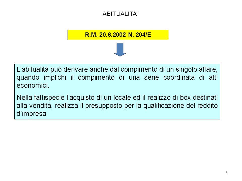 ABITUALITA' R.M. 20.6.2002 N. 204/E.