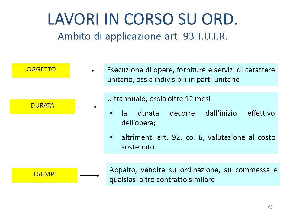 LAVORI IN CORSO SU ORD. Ambito di applicazione art. 93 T.U.I.R.