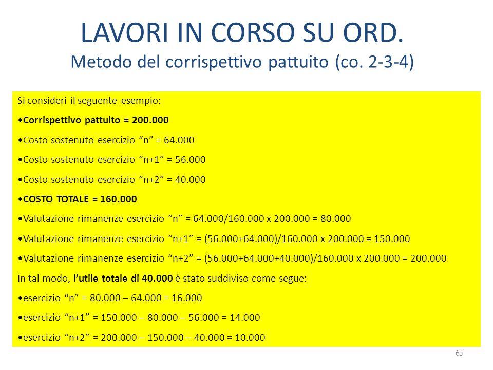 LAVORI IN CORSO SU ORD. Metodo del corrispettivo pattuito (co. 2-3-4)