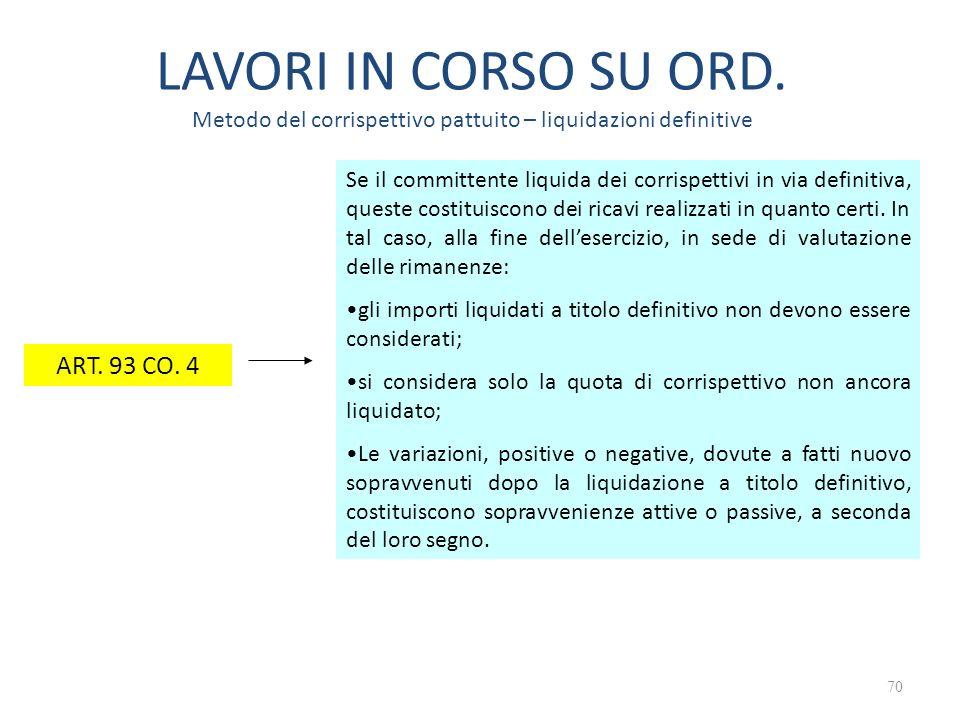 LAVORI IN CORSO SU ORD. Metodo del corrispettivo pattuito – liquidazioni definitive