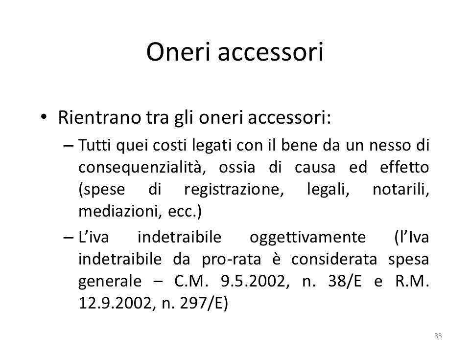 Oneri accessori Rientrano tra gli oneri accessori: