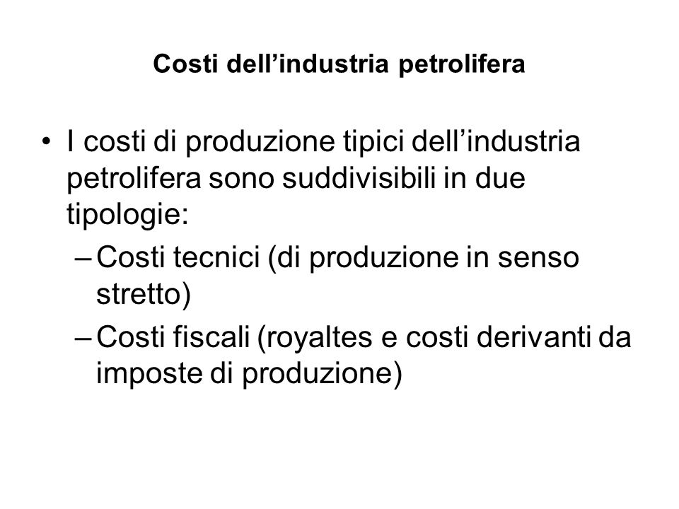 Costi dell'industria petrolifera