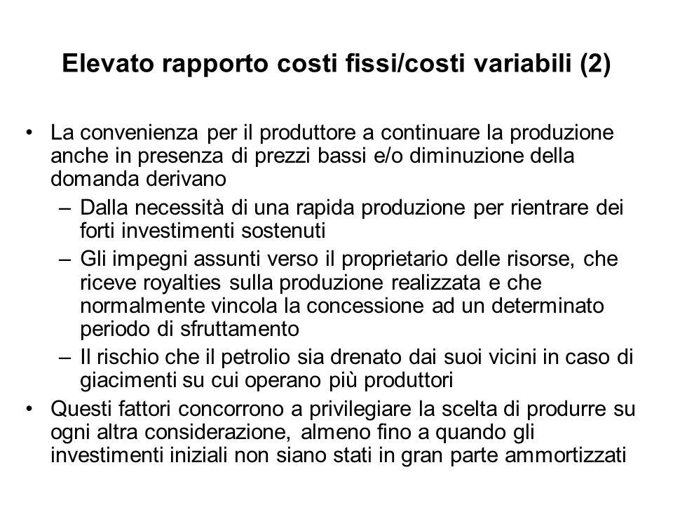 Elevato rapporto costi fissi/costi variabili (2)
