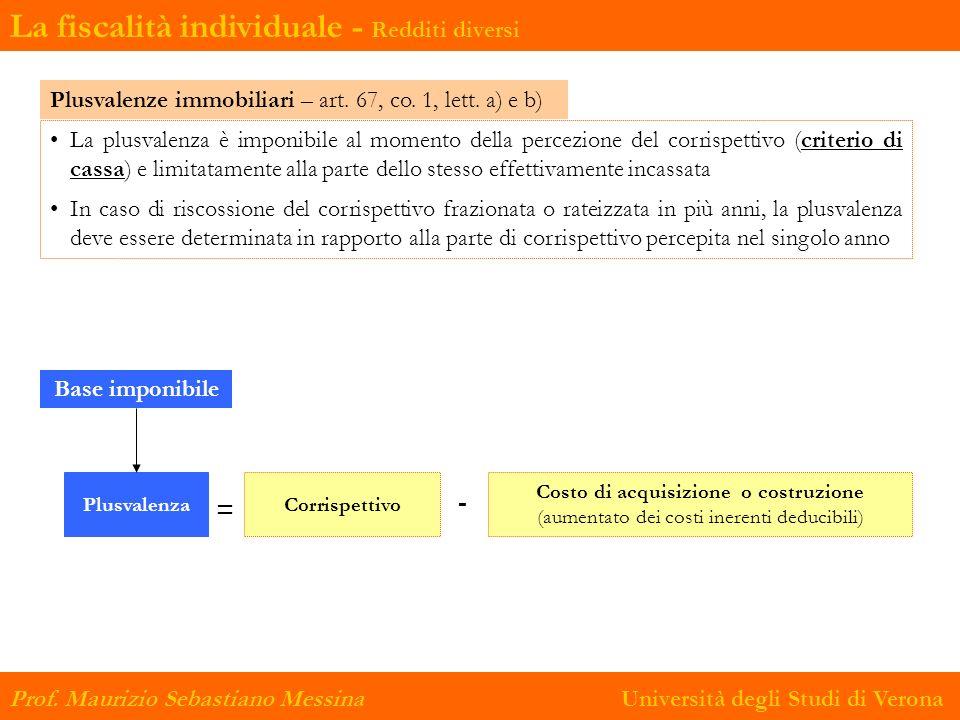 La fiscalità individuale - Redditi diversi