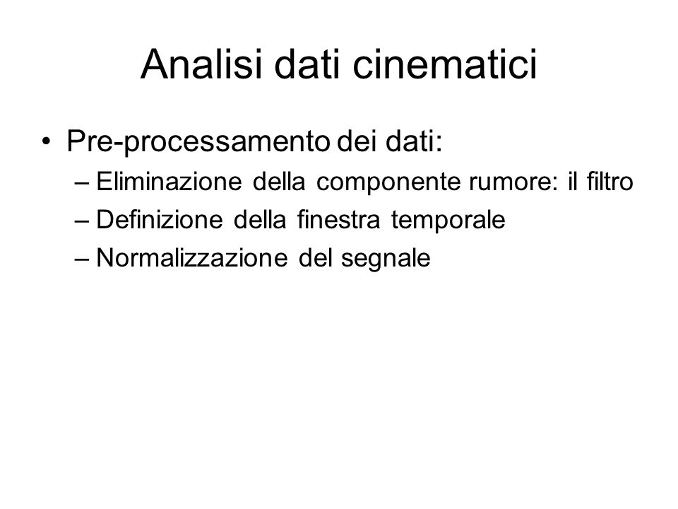 Analisi dati cinematici