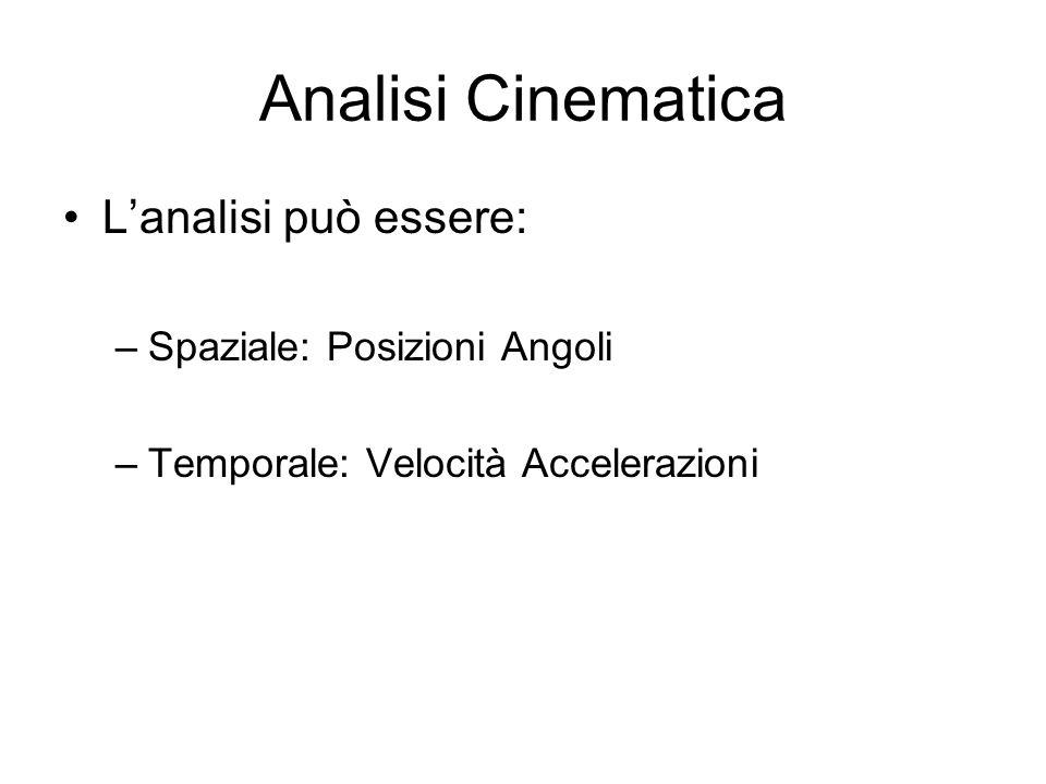 Analisi Cinematica L'analisi può essere: Spaziale: Posizioni Angoli