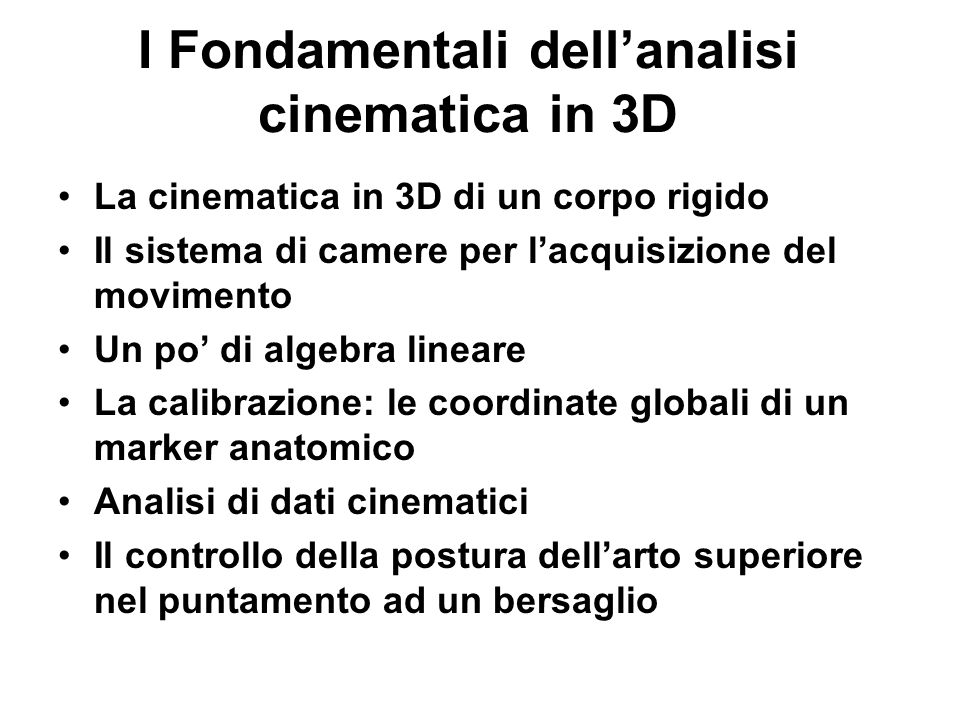I Fondamentali dell'analisi cinematica in 3D