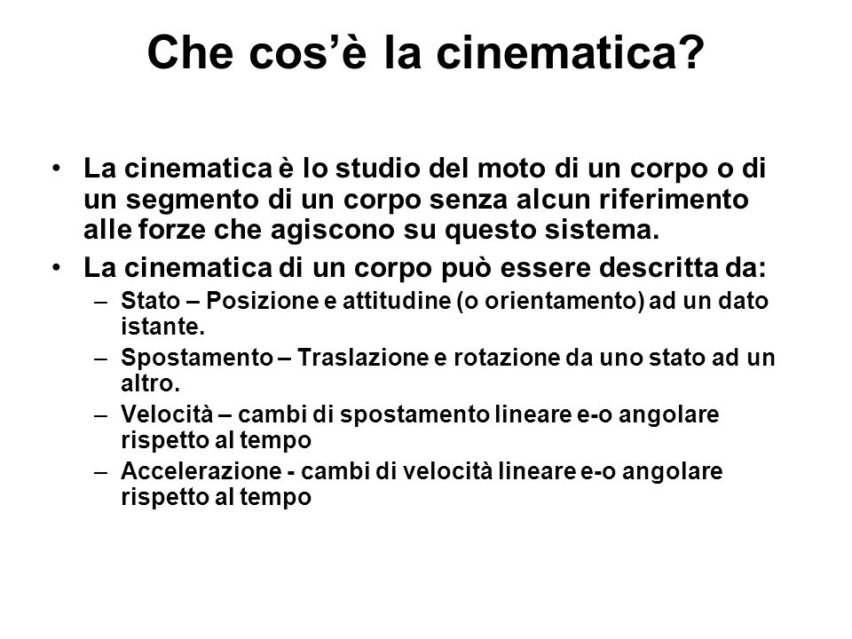 Che cos'è la cinematica