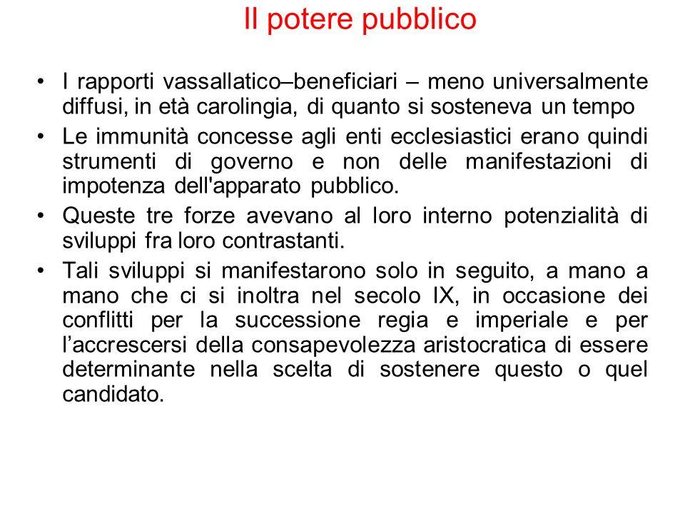 Il potere pubblicoI rapporti vassallatico–beneficiari – meno universalmente diffusi, in età carolingia, di quanto si sosteneva un tempo.