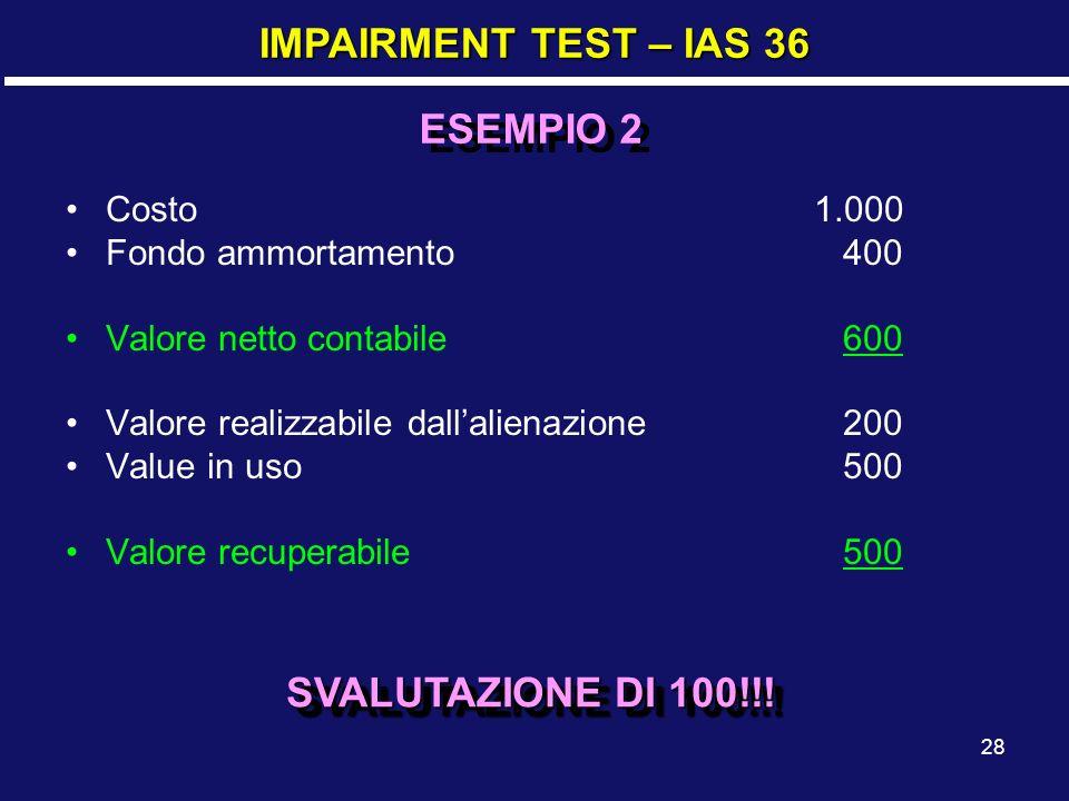 IMPAIRMENT TEST – IAS 36 ESEMPIO 2 SVALUTAZIONE DI 100!!! Costo 1.000