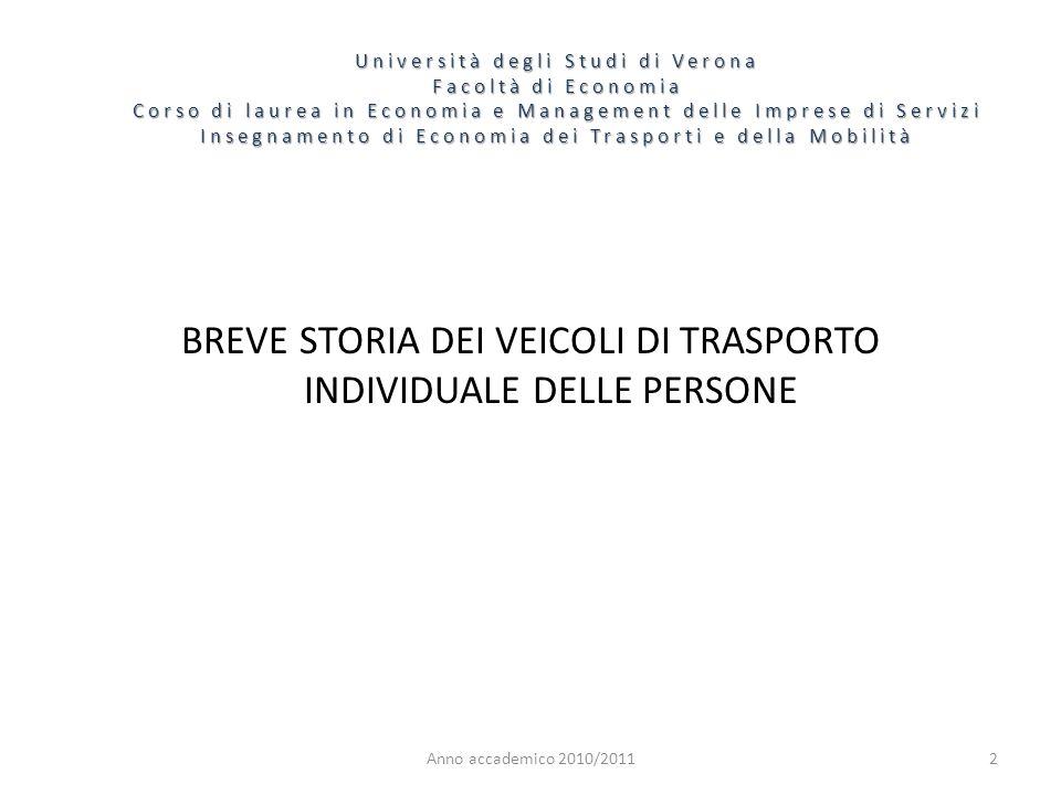 BREVE STORIA DEI VEICOLI DI TRASPORTO INDIVIDUALE DELLE PERSONE