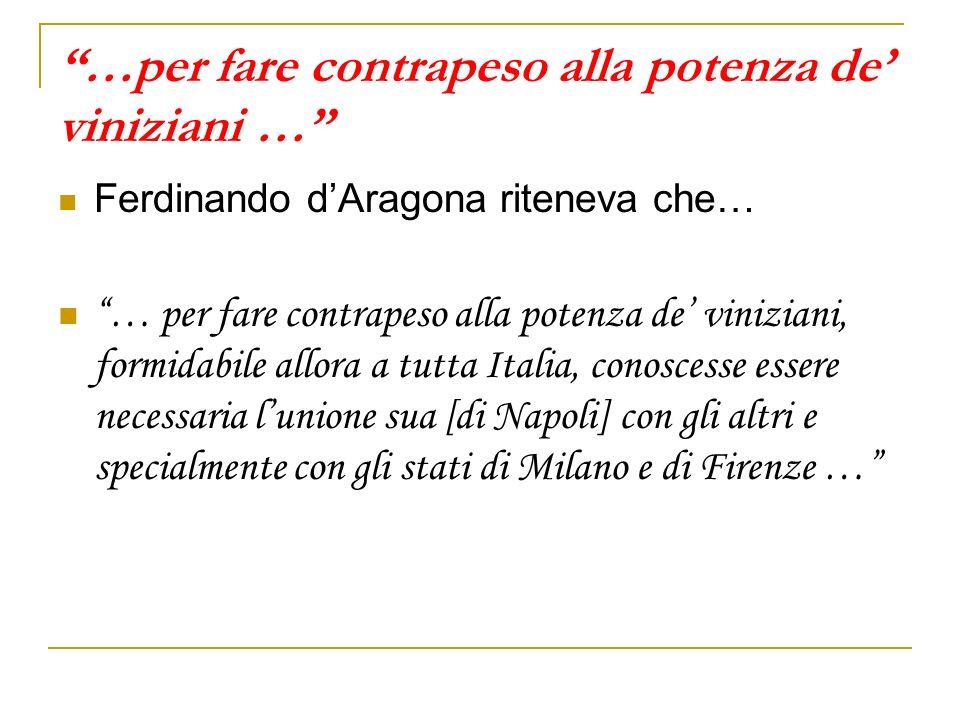 …per fare contrapeso alla potenza de' viniziani …
