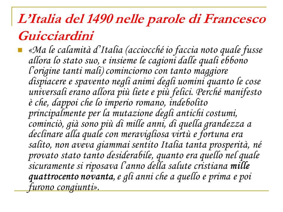 L'Italia del 1490 nelle parole di Francesco Guicciardini