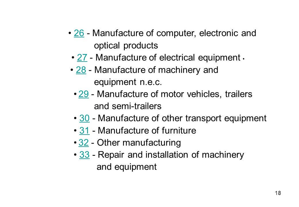• 26 - Manufacture of computer, electronic and