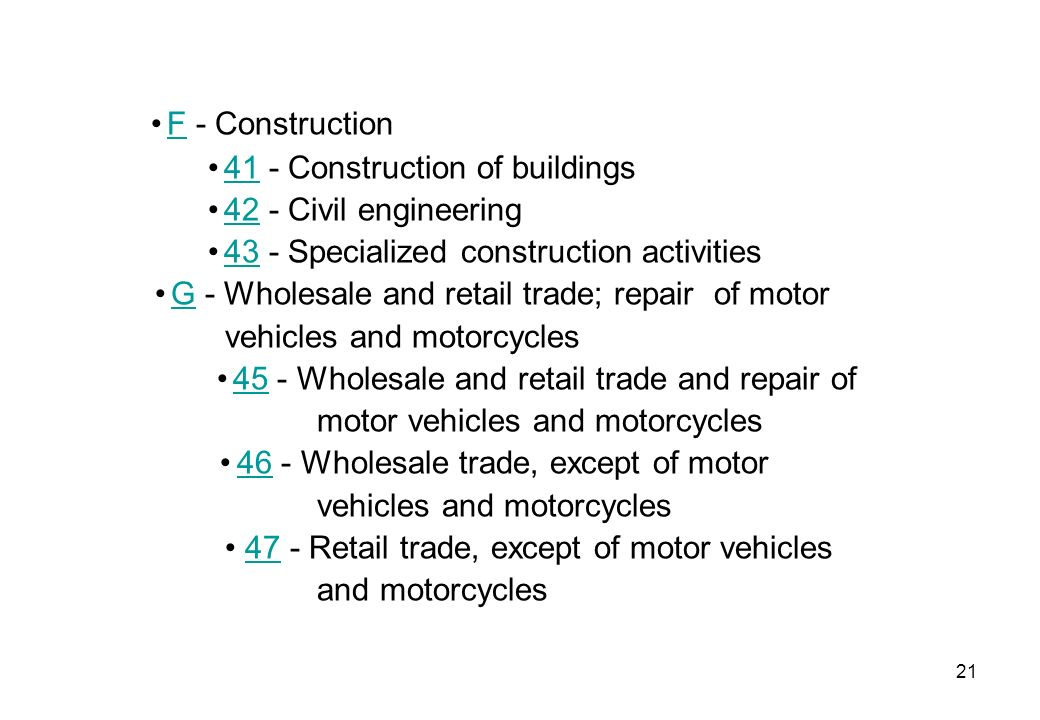 • F - Construction • 41 - Construction of buildings