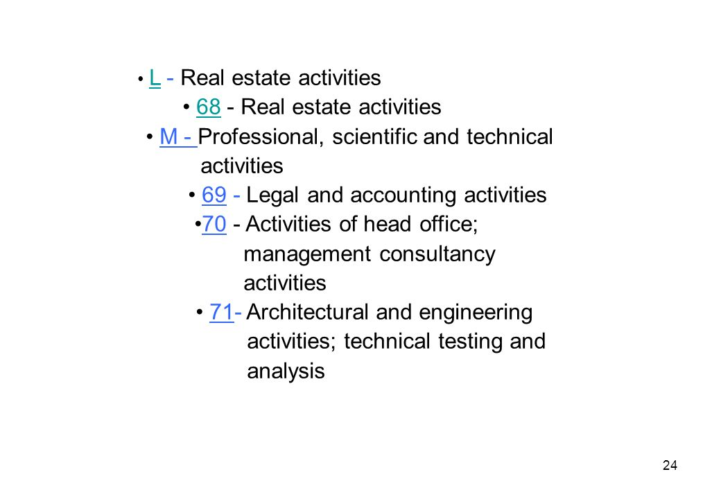 • 68 - Real estate activities