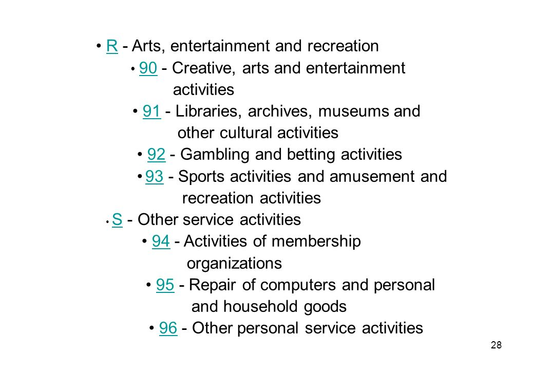• R - Arts, entertainment and recreation