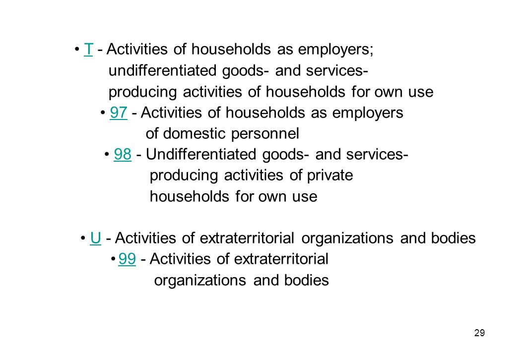 • T - Activities of households as employers;