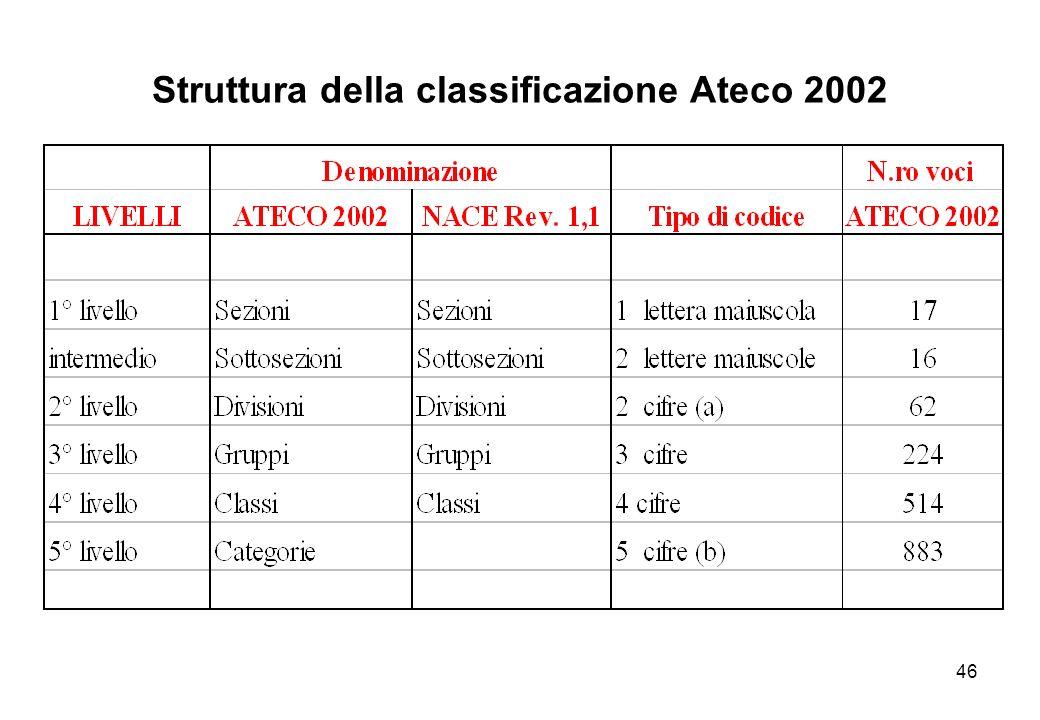 Struttura della classificazione Ateco 2002