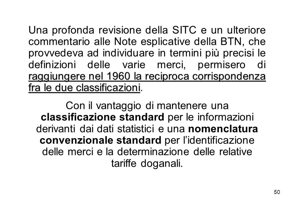 Una profonda revisione della SITC e un ulteriore commentario alle Note esplicative della BTN, che provvedeva ad individuare in termini più precisi le definizioni delle varie merci, permisero di raggiungere nel 1960 la reciproca corrispondenza fra le due classificazioni.