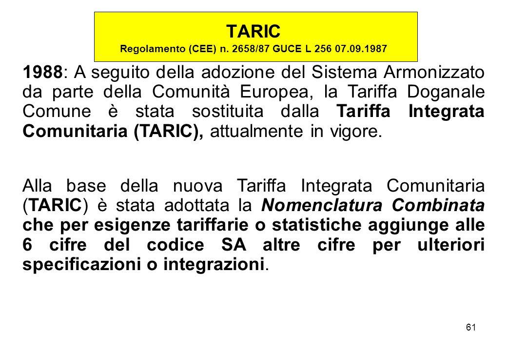 TARIC Regolamento (CEE) n. 2658/87 GUCE L 256 07.09.1987