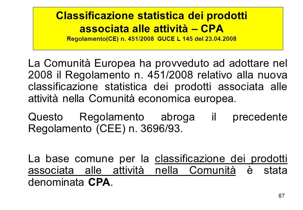 Classificazione statistica dei prodotti associata alle attività – CPA Regolamento(CE) n. 451/2008 GUCE L 145 del 23.04.2008
