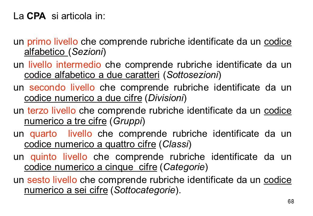 La CPA si articola in: un primo livello che comprende rubriche identificate da un codice alfabetico (Sezioni)