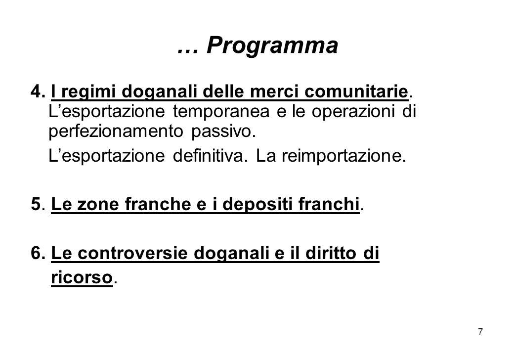 … Programma 4. I regimi doganali delle merci comunitarie. L'esportazione temporanea e le operazioni di perfezionamento passivo.