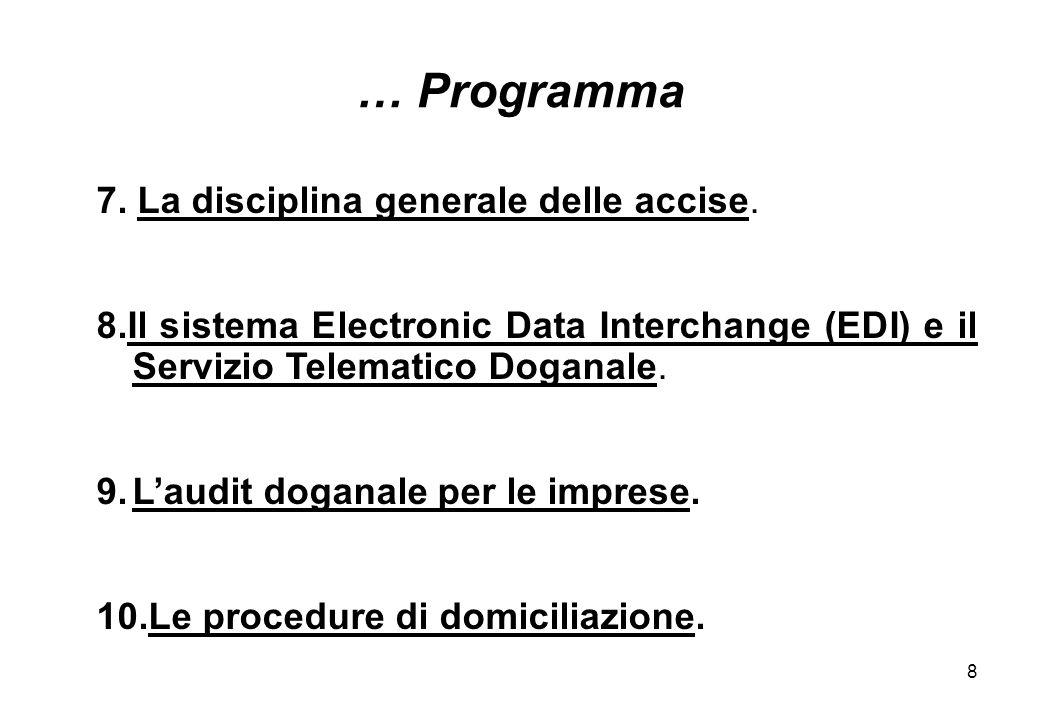 … Programma 7. La disciplina generale delle accise.