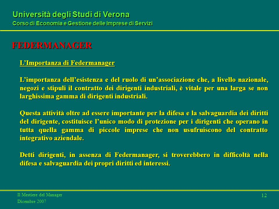 FEDERMANAGER L'Importanza di Federmanager
