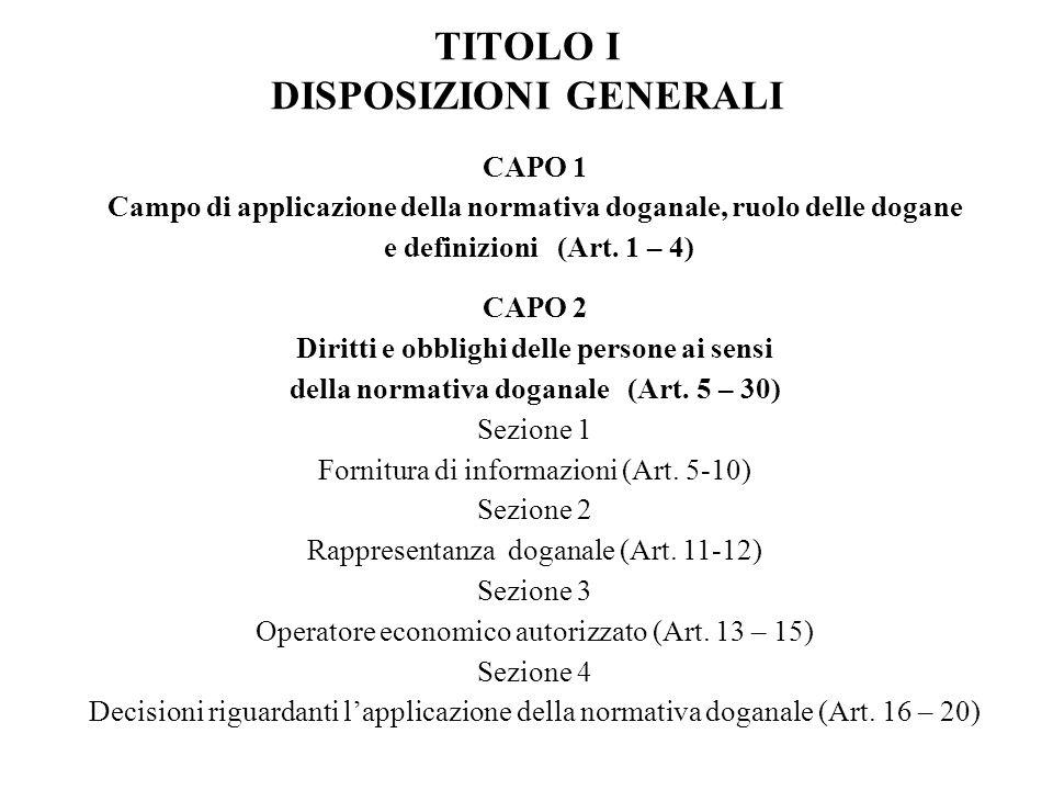 TITOLO I DISPOSIZIONI GENERALI