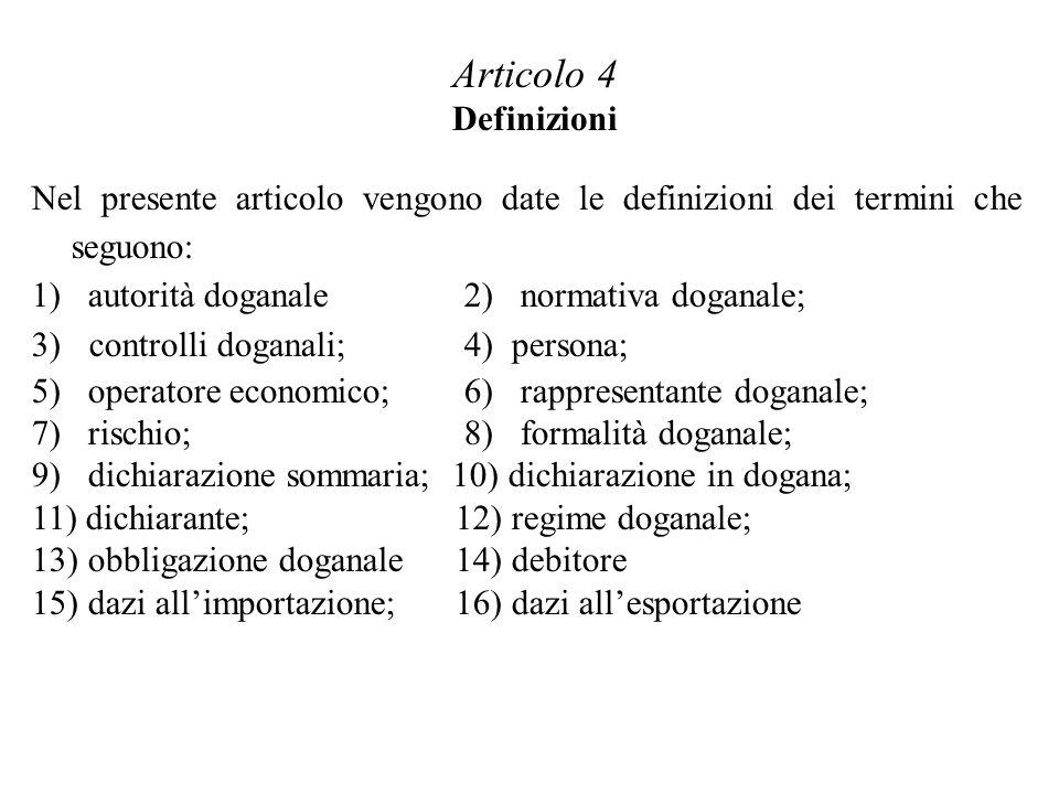 Articolo 4 Definizioni Nel presente articolo vengono date le definizioni dei termini che seguono: 1) autorità doganale 2) normativa doganale;