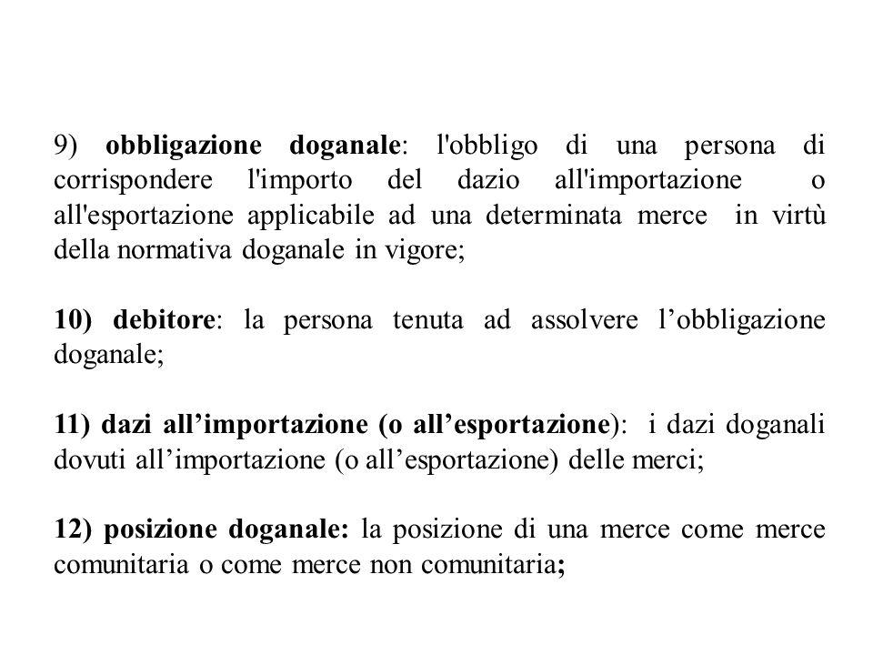 9) obbligazione doganale: l obbligo di una persona di corrispondere l importo del dazio all importazione o all esportazione applicabile ad una determinata merce in virtù della normativa doganale in vigore;