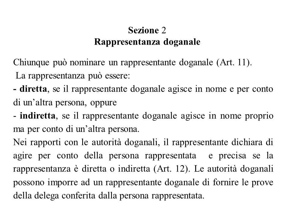 Sezione 2 Rappresentanza doganale