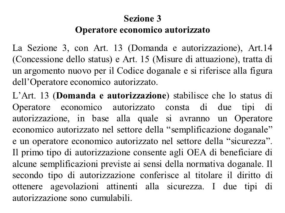 Sezione 3 Operatore economico autorizzato