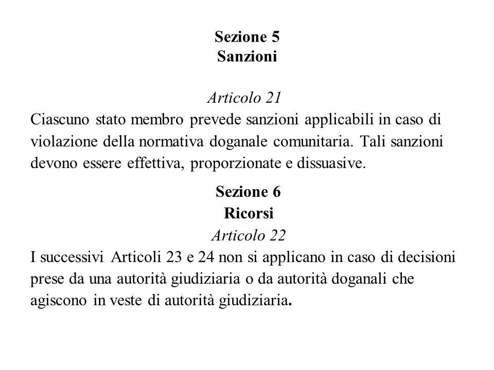 Sezione 5 Sanzioni Articolo 21. Ciascuno stato membro prevede sanzioni applicabili in caso di.