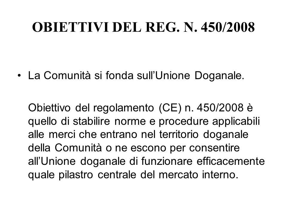 OBIETTIVI DEL REG. N. 450/2008 La Comunità si fonda sull'Unione Doganale.