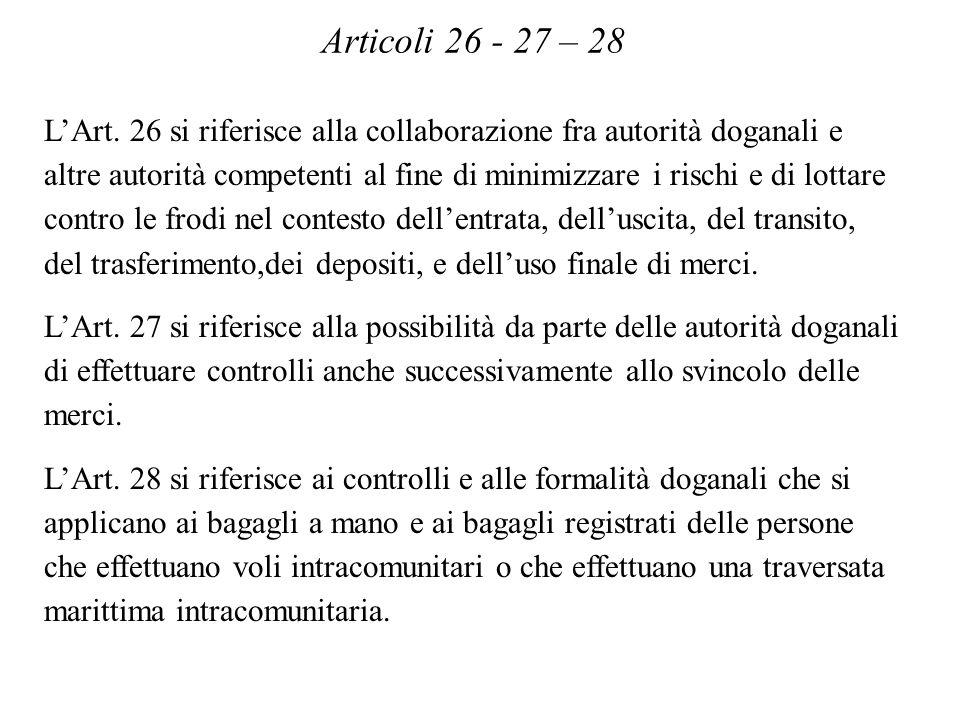 Articoli 26 - 27 – 28